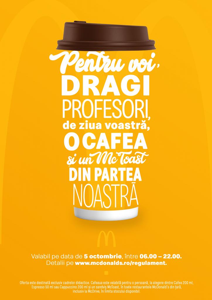 McDonald's sărbătorește Ziua Internațională a Profesorului cu cafea și un sandviș din partea casei
